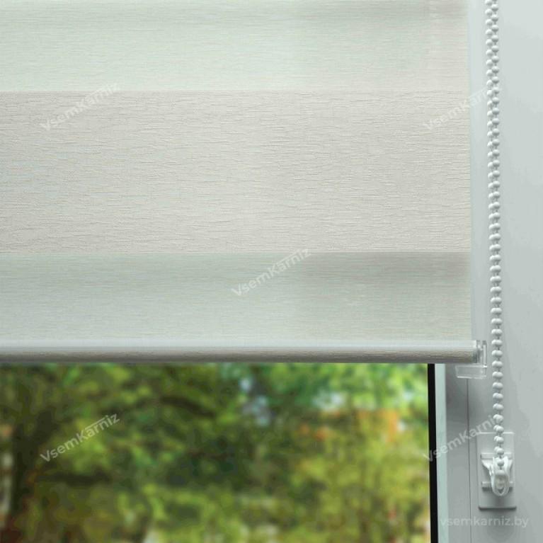 Рулонная штора LmDecor День-Ночь «Сити 01» белая с комплектом направляющих