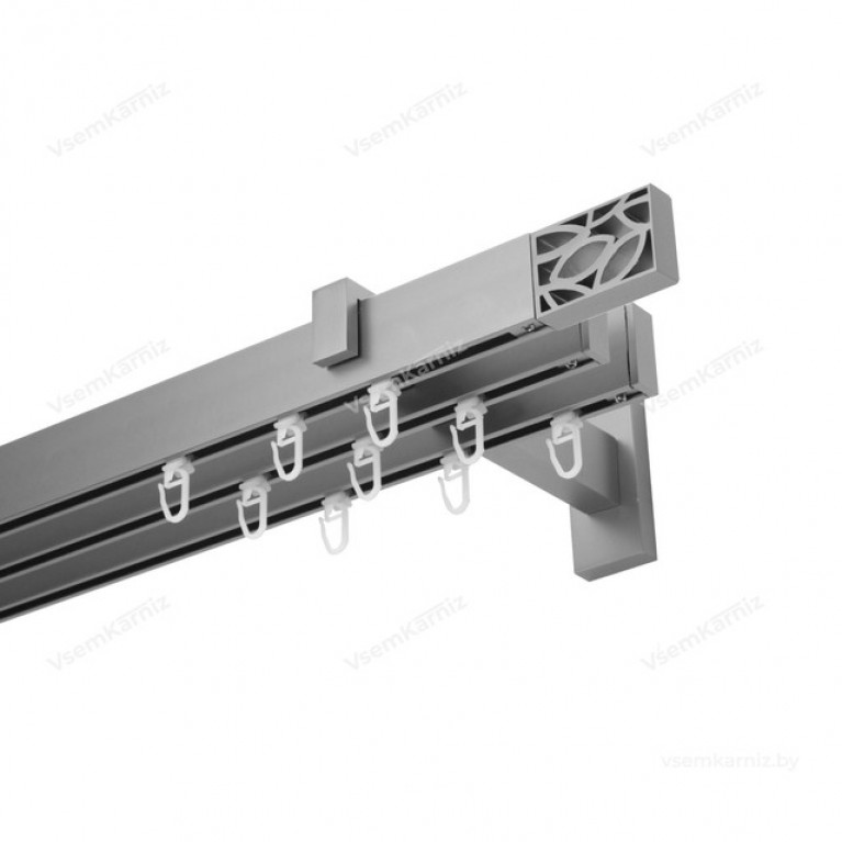Карниз Флэт профиль «Лайн» Грид 31*13мм сатин (трёхрядный)