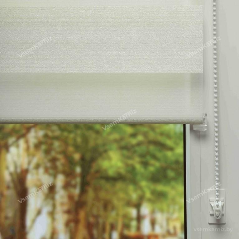 Рулонная штора LmDecor День-Ночь  «Марсель 02» светло-кремовая с комплектом направляющих
