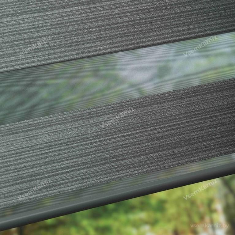 Рулонная штора LmDecor День-Ночь «Марсель 05» графитовый серый с комплектом направляющих